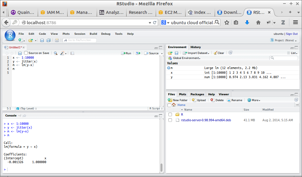 RStudio Server running on Amazon AWS, accessed via SSH tunneling